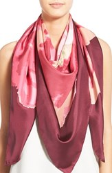 Women's Badgley Mischka 'Claremont' Rose' Silk Square Scarf Pink Magenta