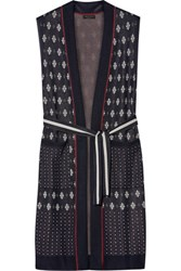 Rag And Bone Isabella Fair Isle Stretch Knit Cardigan Navy