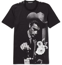 Dolce And Gabbana Slim Fit Appliqued Printed Cotton Jersey T Shirt Black