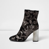 River Island Womens Grey Embroidered Sequin Block Heel Boots