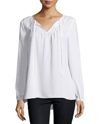 Neiman Marcus Sheer Pintucked Peasant Sleeve Blouse White