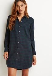 Forever 21 Flannel Plaid Shirt Dress Navy Green