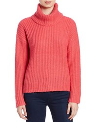 Kensie Slouchy Ribbed Turtleneck Sweater Sunset Coral