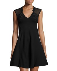 French Connection Marie Dot Mesh Dress W Embroidery Black