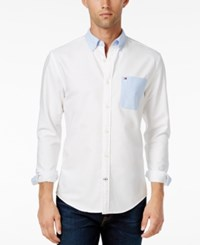 Tommy Hilfiger New England Men's Colorblocked Long Sleeve Shirt Classic White Collection Blue