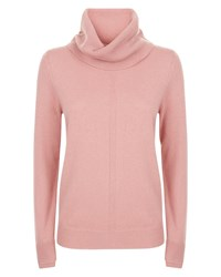 Jaeger Cashmere Cowl Neck Sweater Pink