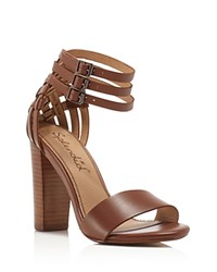 Splendid Jena Ankle Strap High Heel Sandals Cognac