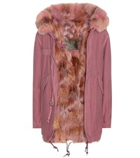Mr And Mrs Italy Sofia Fur Lined Cotton Parka Pink