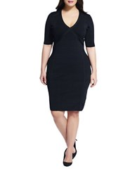 Adrianna Papell Plus Ribbed V Neck Sheath Dress Black