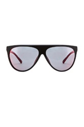 3.1 Phillip Lim Mirrored Flat Top Aviator Sunglasses In Black Red