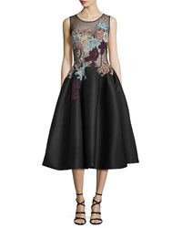Jovani Sleeveless Embroidered Fit And Flare Dress Black