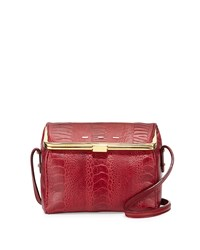 Audrey Ostrich Vitello Box Crossbody Cranberry Vbh Red
