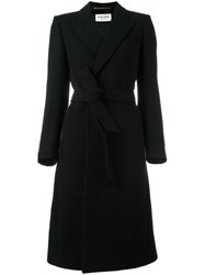 Saint Laurent Belted Long Length Coat Black