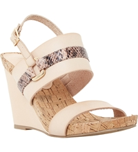 Dune Kimmie Leather Wedge Sandals Blush Reptile