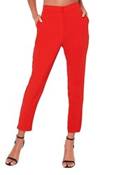Missguided Women's Crop Cigarette Trousers Red