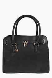 Boohoo Structured Day Bag With Padlock Detail Black