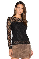 Milly Lace Long Sleeve Top Black