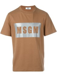 Msgm Metallic Logo Print T Shirt Brown