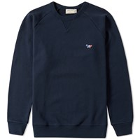 Maison Kitsune Tricolour Fox Crew Sweat End. Exclusive Blue