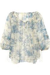 Philosophy Printed Silk Chiffon Blouse Blue