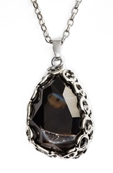 Nordstrom Long Semiprecious Stone Pendant Necklace Black Silver