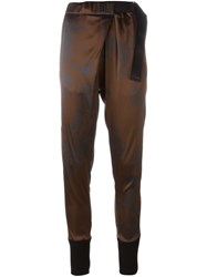 Ann Demeulemeester Floral Print Tapered Trousers Brown