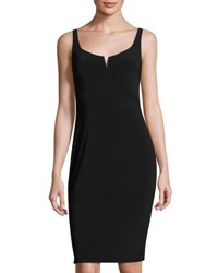 Laundry By Shelli Segal Platinum Sleeveless Jersey Sheath Dress Black