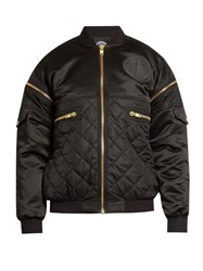 Astrid Andersen Quilted Satin Bomber Jacket Black