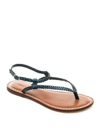 Bernardo Merit Woven Leather Thong Sandals Navy Metallic