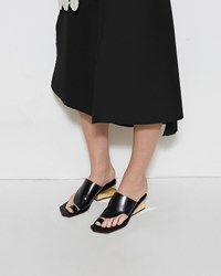 Marni Block Heel Slide Black And Gold