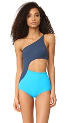 Flagpole Ali One Shoulder One Piece Ink Capri