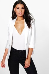 Boohoo Lined 3 4 Sleeve Blazer Cream