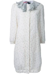 Jenny Fax Ruffle Collar Floral Print Coat White