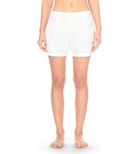 The Sleep Shirt Pleated Cotton Pyjama Shorts White Palm Damask