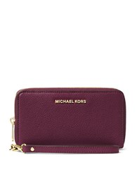 Kors Mercer Large Leather Wristlet Plum