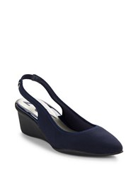 Anne Klein Rampup Slingback Wedges Navy Blue