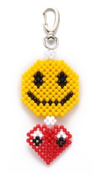 Mira Mikati Del Duca Smiley Heart Bag Charm Yellow Red