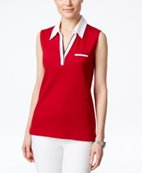 Karen Scott Colorblock Sleeveless Polo Top Only At Macy's New Red Amore