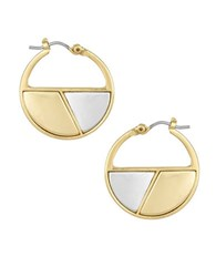 Laundry By Shelli Segal Two Tone Mosaic Hoop Earrings Mixed Metal