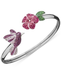 Kaleidoscope Swarovski Crystal Hummingbird And Flower Bangle Bracelet In Sterling Silver