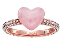 Michael Kors Carved Hearts Rose Quartz And Pav Crystal Heart Ring Rose Gold Ring