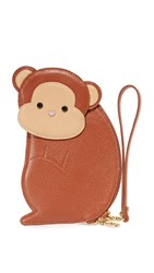 Patricia Chang Monkey Wristlet Brown
