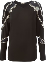 Emilio Pucci Studded Cut Out Blouse Black