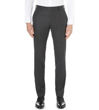 Joseph Dash Regular Fit Tapered Wool Flannel Trousers Charcoal