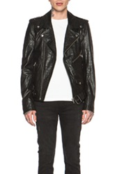 Blk Dnm Crocodile Embossed Motorcycle Jacket In Black Animal Print