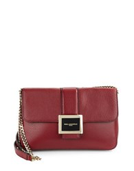 Karl Lagerfeld Pebbled Leather Shoulder Bag Bordeaux