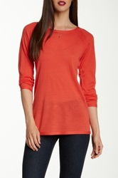 Eileen Fisher Crew Neck Merino Wool Pointelle Sweater Red
