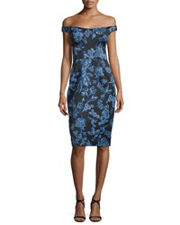 Lela Rose Off The Shoulder Floral Print Sheath Dress Blue