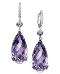 Macy's Sterling Silver Earrings Pink Amethyst 23 Ct. T.W. And Diamond Accent Teardrop