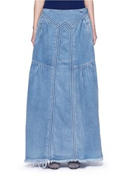 Chloe Frayed Hem Denim Maxi Skirt Blue